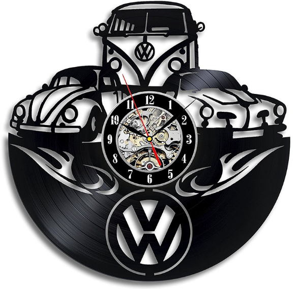 車ロゴフォルクスワーゲンビニールレコードのウォールクロックギフト友人のため 3D 装飾家の装飾時計古典的な壁時計 C461