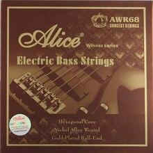 Alice – cordes de basse électrique 045 065 085, 105, 130 pouces, noyau Hexagonal, alliage de Nickel enroulé, plaqué or, 5 cordes/ensemble, nouvelle collection