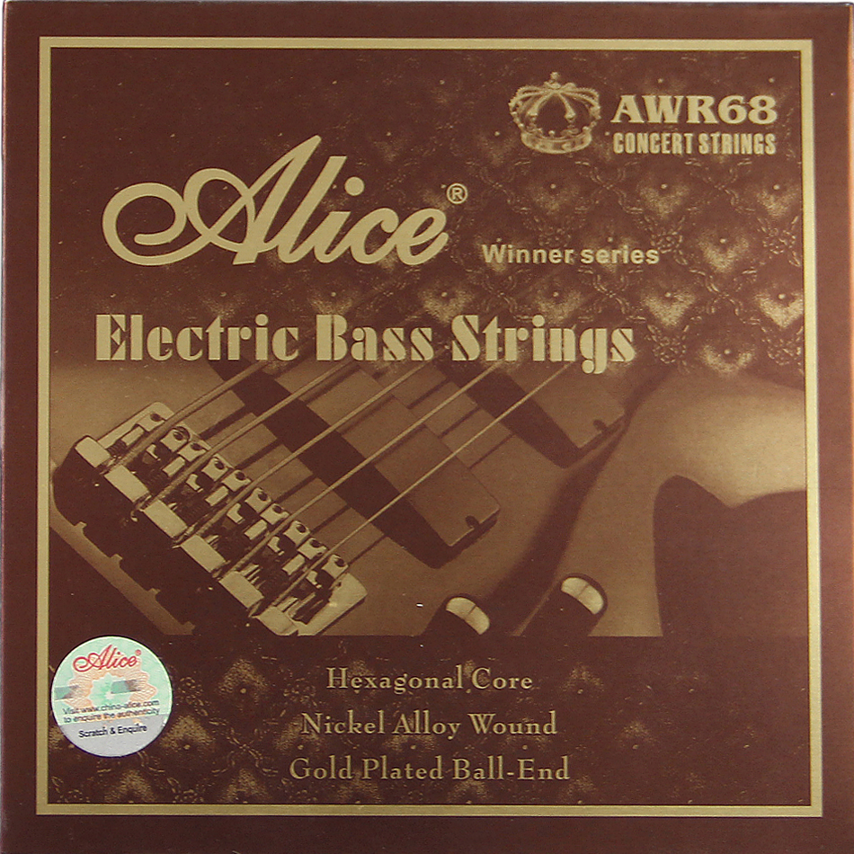 NEW Alice Electric Bass strings 045 065 085 <font><b>105</b></font> 130 inch Hexagonal Core Nickel Alloy Wound Gold Plated Ball-End <font><b>5</b></font> strings/set image