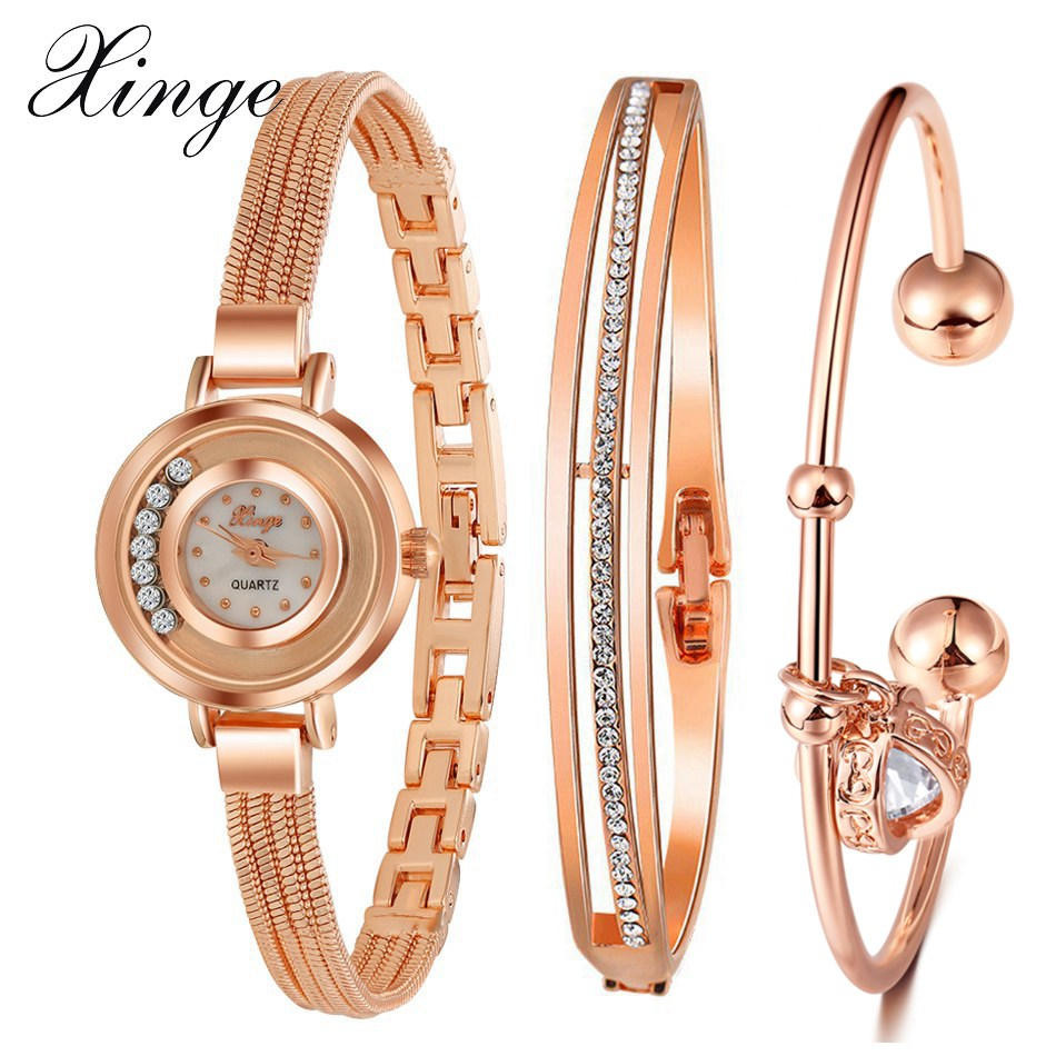 Xinge Brand Fashion Luxury Rose Gold Quartz Women's Watches Crystal Ladies Casual Wristwatch Dress Jewelry Female Clock XG10980 xinge brand 2017 fashion women dress watches luxury leather strap business quartz wrist watches female black clock wristwatch
