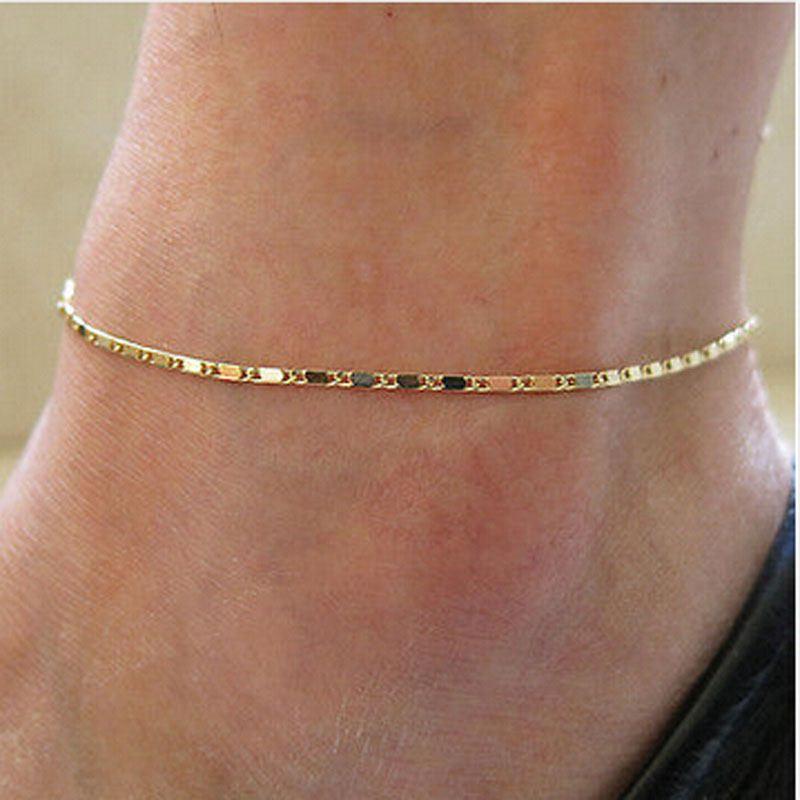2017 Fashion Women Ladys Girl Gold Foot Anklet Simple Jewelry Gold ...
