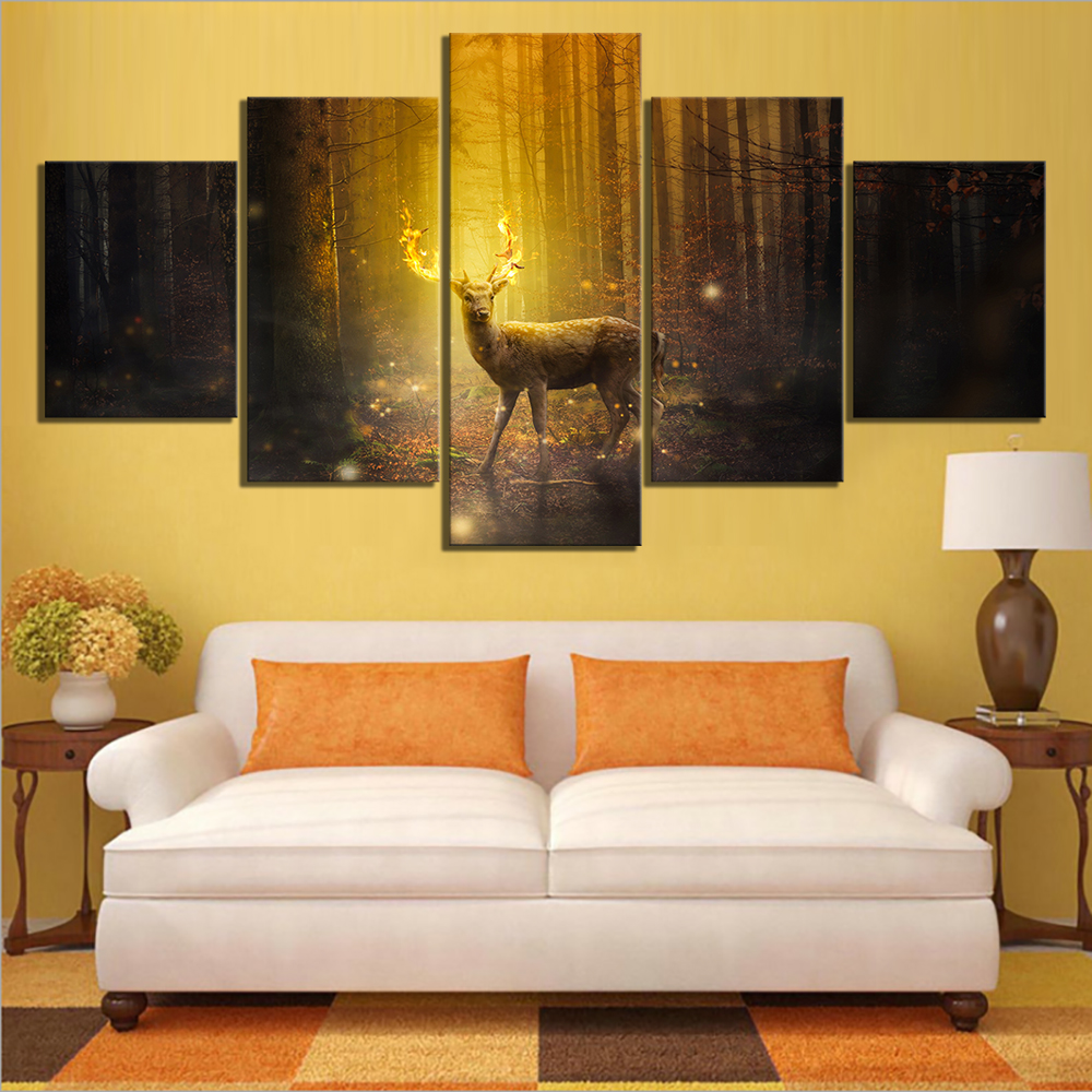 5 Piece Fantasy Art Pictures Animal Deer Paintings Landscape Forest Paintings Canvas Art for Home Decor 2