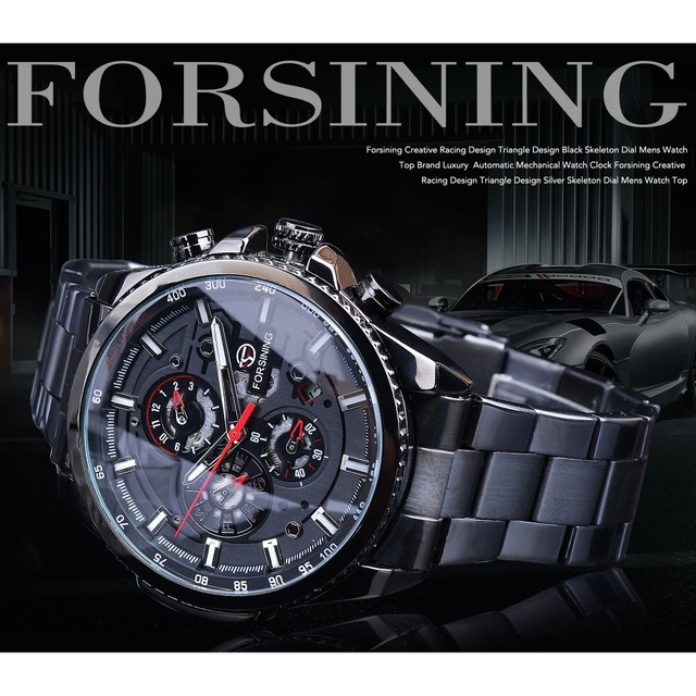 Forsining Three Dial Calendar Stainless Steel Men Mechanical Automatic Wrist Watches Top Brand Luxury Military Sport Male Clock 2