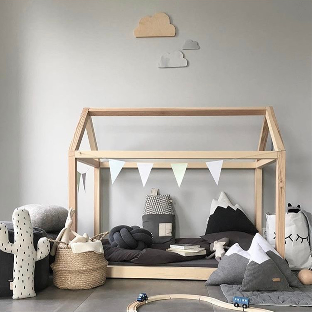 Handmade Montessori Floor Bed Frame Natural Wooden House, Fit ...