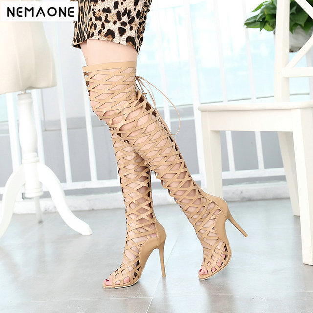 3a3a2ff120480 New summer dance shoes fetish bootie pumps Sexy women cage thigh high over  the knee boots woman peep toe gladiator sandals