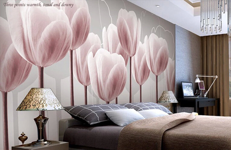 2015 customize size tulip fashion tv wall mural wallpaper background 3d stereoscopic video wall wallpaper the living room sofa in wallpapers from home