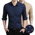 Plus Size M-5XL New 2015 Spring Autumn Dotted Cotton Dress Shirts High Quality Mens Casual Shirt Long Sleeve Slim Social Shirts