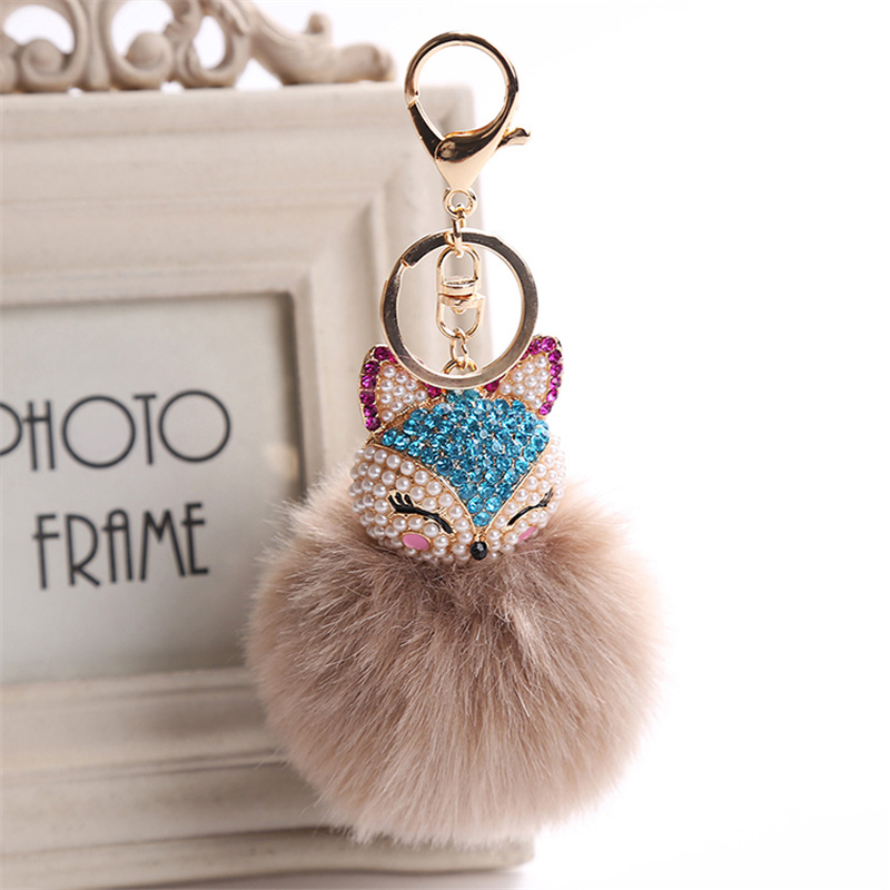 2017 New Artificial Rabbit Fur Ball Keychain Rhinestone Crystal Fox Head Pompon Trinket Key Chain Handbag Fluffy Key Ring Holder 9