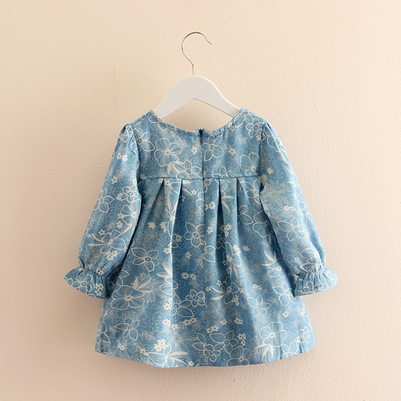 Baby Girls Dress Summer Beach Style Floral Print long sleeve Dresses For Girls Vintage silk bow Toddler Girl Clothing 2-7Yrs childrendlor baby brocade floral print