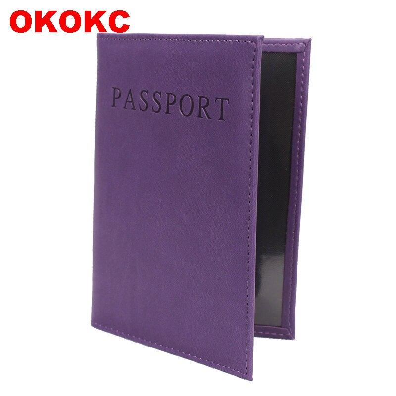 OKOKC English Alphabet Solid Passport Cover PU High Quality Passport Package Travel Tickets Passport Holder Travel Accessories pu cartoon travel accessories passport cover with size 5 5 3 8 minions