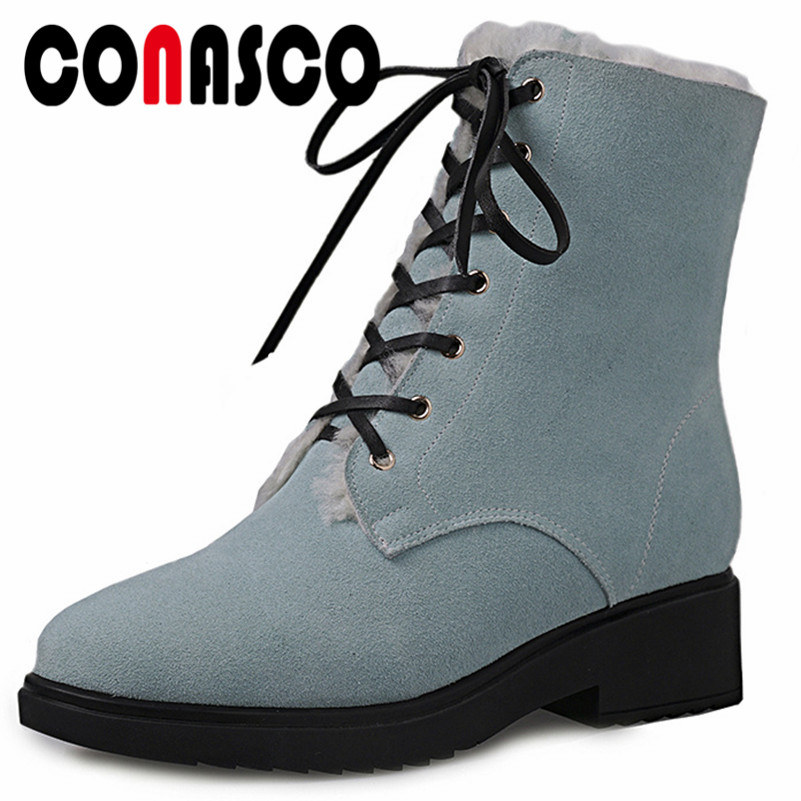 CONASCO High Quality Cow Suede High Heels Ankle Boots Warm Winter Snow Boots Retro Corss-tied Comfort Motorcycle Boots Shoes CONASCO High Quality Cow Suede High Heels Ankle Boots Warm Winter Snow Boots Retro Corss-tied Comfort Motorcycle Boots Shoes