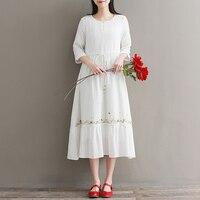 Cotton and linen Women Summer dress Elegant O Neck Half Sleeve Loose Party Vestido Casual Baggy Work embroidery Dress Sundress