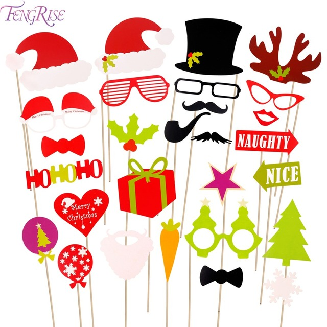 US $3 52 7% OFF|FENGRISE 27pcs Christmas Photo Booth Props Booth Wedding  Decorations Xmas Funny Hat Tree Gifts PhotoBooth Supplies For New Year -in