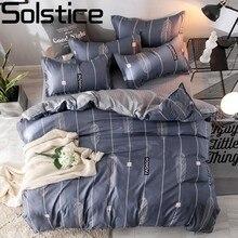 Solstice Dark Stripes Modern Style Boy Room Decoration Soft Bedclothes Flat Bed Sheet Duvet Cover Pillowcase Bedding Set Suit