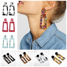 New Design Acetate Earrings Boho Geometric Statement Fashion Jewelry Color Leopard Print Acrylic Female