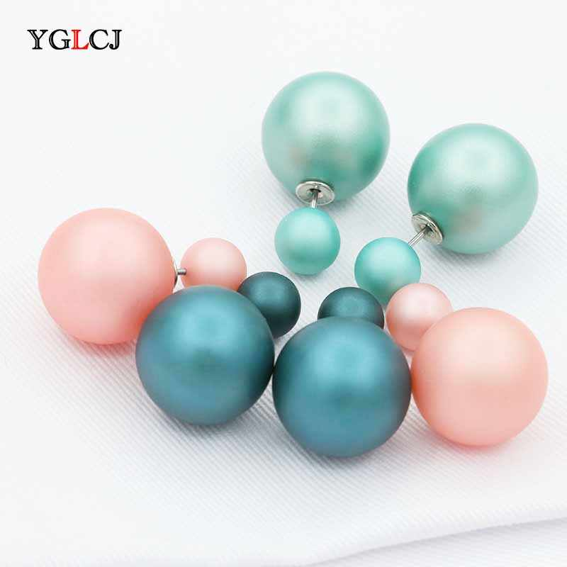 2018 Fashion Temperament Double-Sided Simulation Pearl Color Size Pearl Ball Ladies Earrings Female Jewelry Accessories