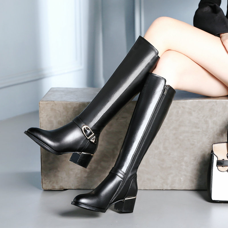 Women Cow Leather Knee High Boots Winter Fur Warm comfy Thick Heel Boots Side Zipper Fashion Woman Shoes Black Plus SizeWomen Cow Leather Knee High Boots Winter Fur Warm comfy Thick Heel Boots Side Zipper Fashion Woman Shoes Black Plus Size