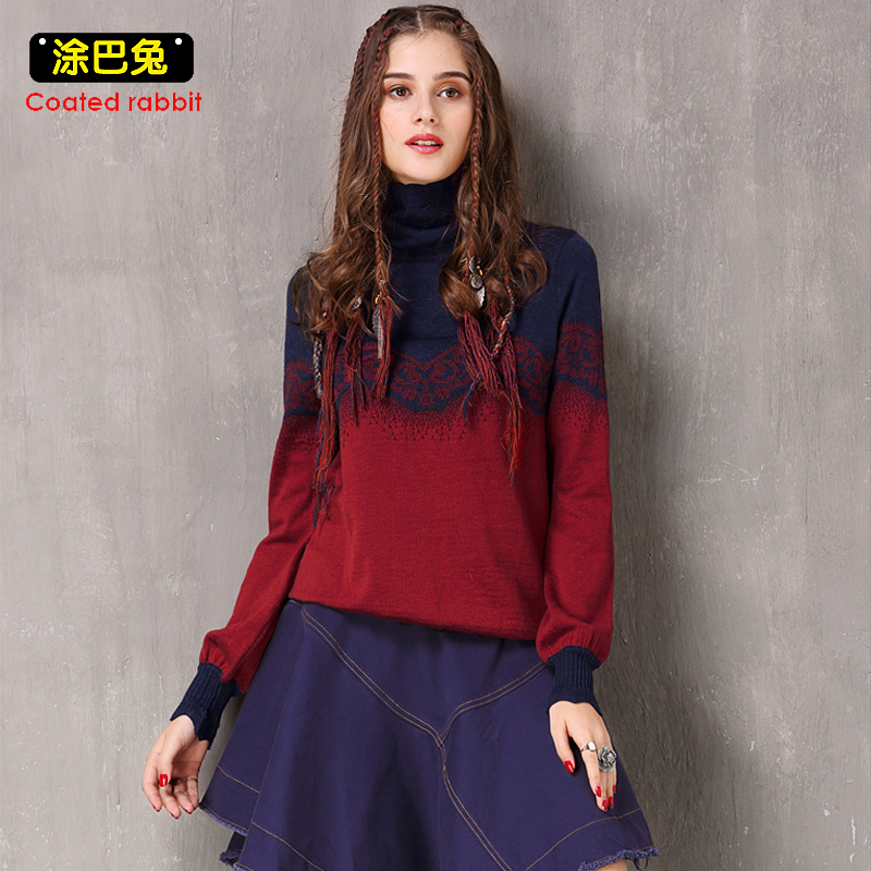 CR 2018 Winter Fashion Sweater Women Lantern Long Sleeve Turnleneck Knitted Pullover Tops Female Warm Casual Jumper
