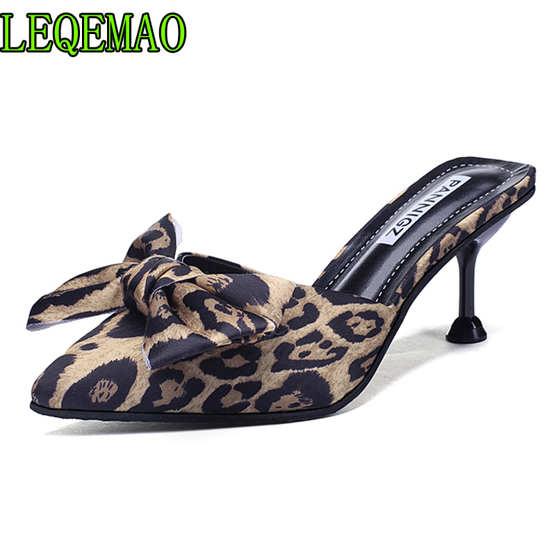 b36e33747f9ca Detail Feedback Questions about 2019 Summer Style Women Leopard High Heels  Mules Pointed Toe Sexy Women Slides Female Thin High Heels Female Outdoor  ...