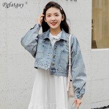 4f95a500cebd 2019 Spring Women s Harajuku Blue Denim Jacket Coat Big Pocket Back Button Short  Light Blue Jeans