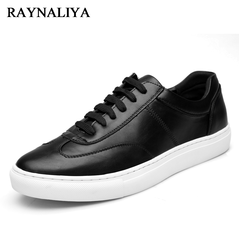 цены Men Lace Up Black Genuine Leather Students Casual Flats Shoes Fashion White Breathable Streetwear Man Footwear LMX-B0012