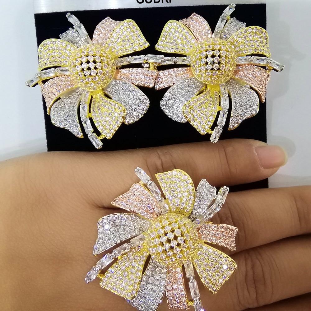 GODKI BIG Super Luxury Flower Cubic Zirconia Crystal CZ Engagement Jewelry Sets For Women Wedding DUBAI