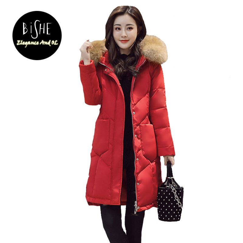BiSHE Winter Jacket Women 2017 Fashion Loose Long Cotton-Padded Hooded Jacket Parka Female Wadded Jacket Outerwear Winter Coat bishe 2017 fashion winter jacket women slim long cotton padded hooded jacket parka female wadded jacket outerwear winter coat