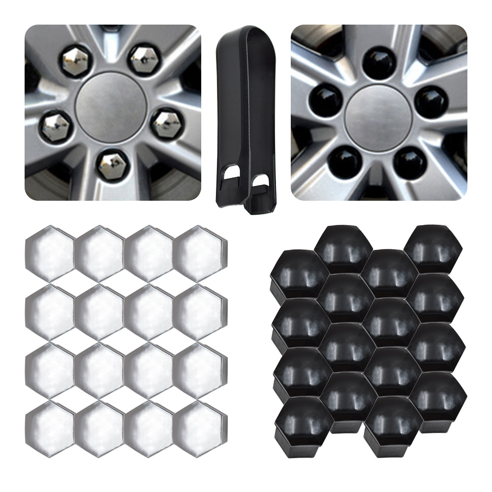 20 Car Wheel Nut Bolt Head 19mm Black Covers Caps Plastic Hexagonal Protectors
