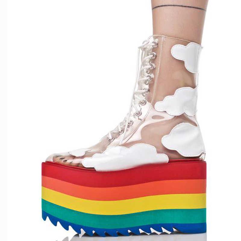 2019 yeni gökkuşağı kalın alt moda şeffaf PVC deri lace gösterisi gösterisi serin botlar gece kulüpleri kek alt bayan botları
