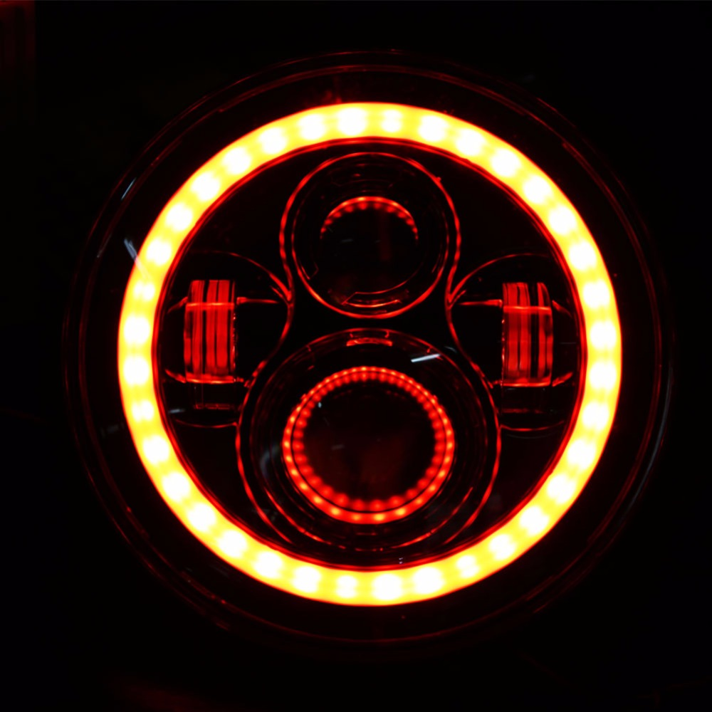 1Pair New car Accessories 7inch Led Headllamp H4 H13 Hi/Low 7inch Led Headlight for jeep wrangler