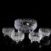 5PCS/SET Cornucopia creative fashion crystal glass fruit bowl salad bowl living room restaurant fruit plate ZP01211707