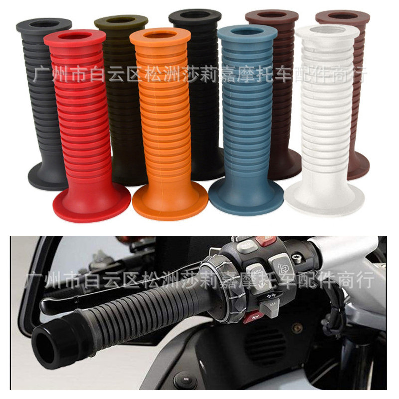 Vintage moto handlebar rubber Retro scooter Hand Grip Motorcycle Grips 7 8 quot 22mm universal Brown Handlebar motorbike Hand Grip in Grips from Automobiles amp Motorcycles