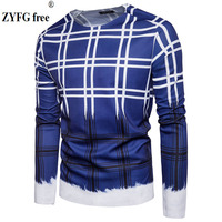 Tops Brand New Autumn Men Casual Long Sleeved T Shirt Urban Fashion Plaid Pattern Printing Men