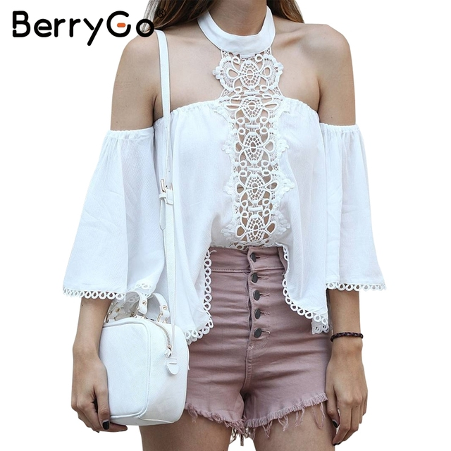 BerryGo Halter off shoulder lace blouse shirt