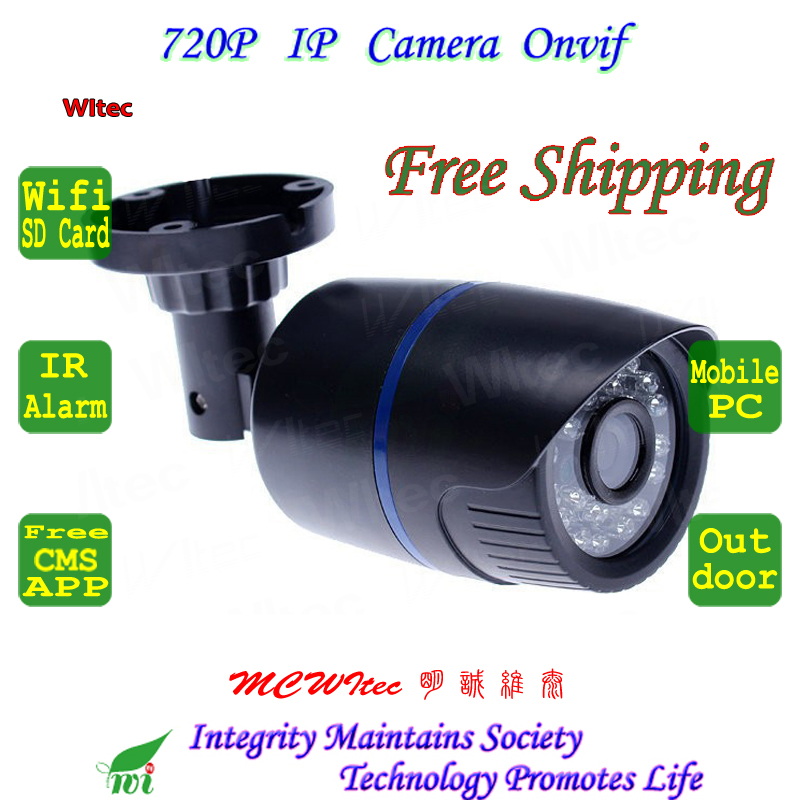 Built In WIFI 720P IR Outdoor Bullet ONVIF Security Night Vision P2P IP Cam IR Cut