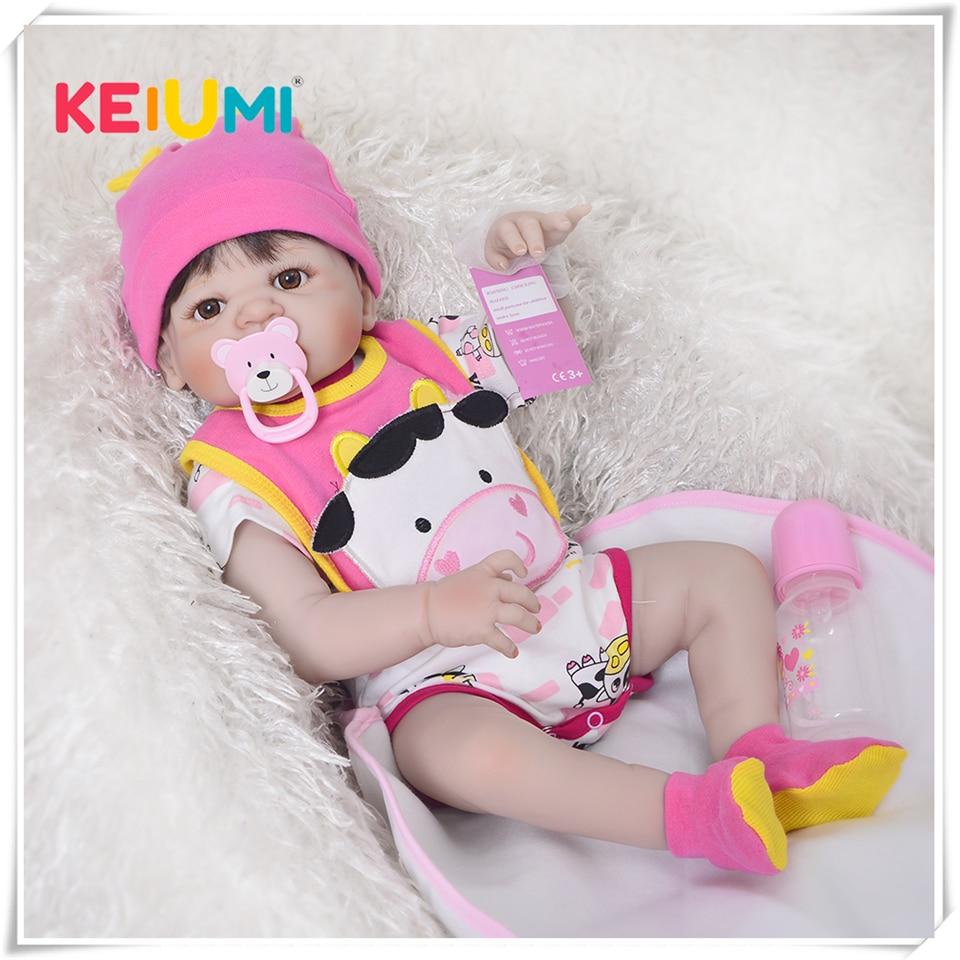 23 Full Silicone Vinyl Reborn Baby Girl Realistic Newborn Babies Doll White Skin Ethnic bebe Toddler
