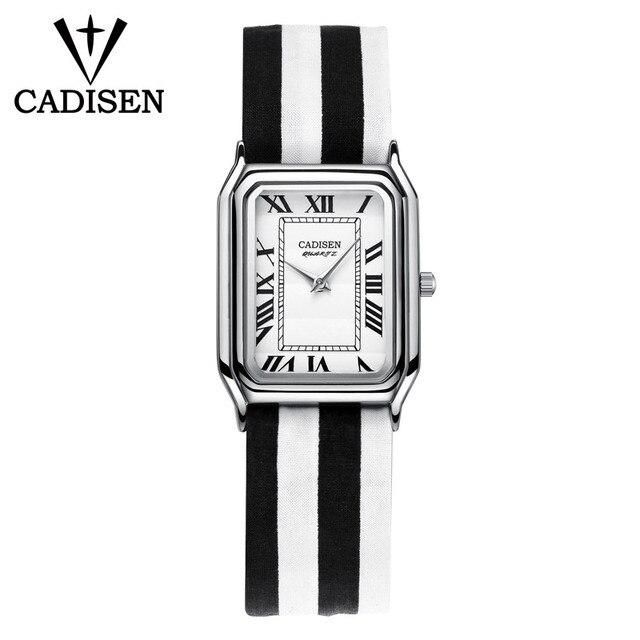 09f82322537 CADISEN Super Slim Stripes Fabric Square Watches Women Top Brand Luxury  Casual Clock Ladies Wrist Watch Lady Relogio Feminino