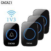 CACAZI Новый Беспроводной дверной звонок Водонепроницаемый 180 м Пульт дистанционного ЕС Великобритания США Plug беспроводной 38 шт. дверной звонок 220 В Батарея 1 передатчик 3 приемника