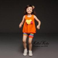 Retai Baby Girl Clothing Set Orange Printed T Shirt and Short Pants For Children Clothing Summer Kids Suit