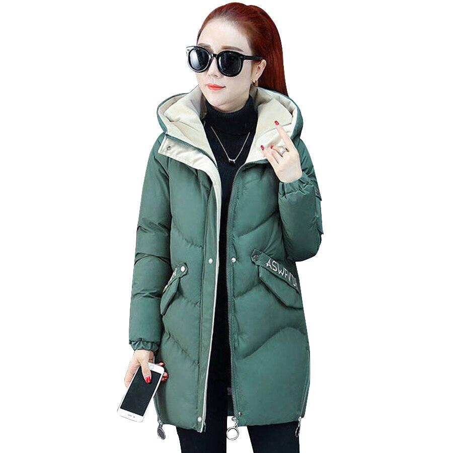 women's plus size coats 2019 Fashion solid casual cotton-padded winter jacket women hooded warm   parkas   outwear female