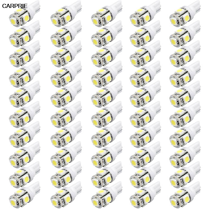 CARPRIE 50pcs T10 Wedge 5-SMD 5050 Xenon LED Light bulbs 192 168 194 W5W 2825 158 smd led car side light lamp promotion 7pcs baby cot bedding set newborn crib set 3d embroidery include bumper duvet bed cover bed skirt