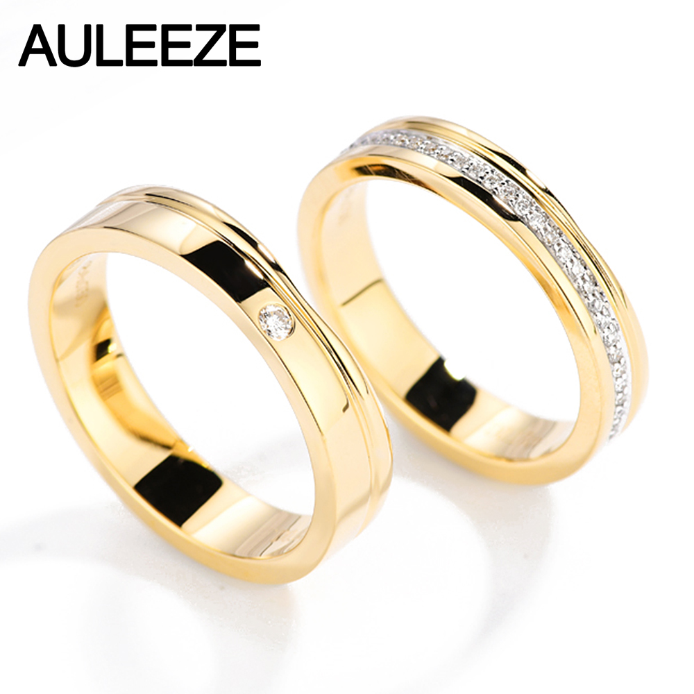 AULEEZE Solitaire 0.20cttw Round Cut Natural Diamond Couple Rings 18k Yellow Gold Men and Women Engagement Wedding Ring цена 2017