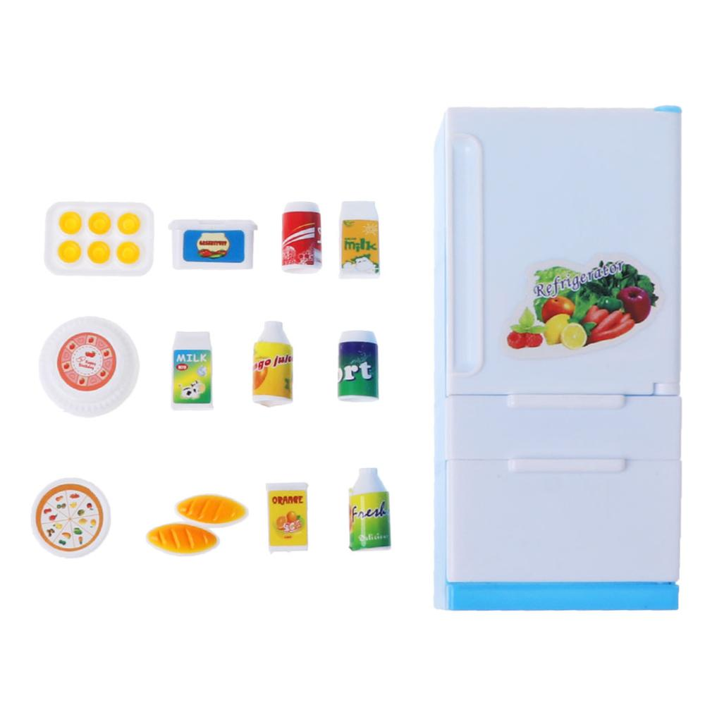 Refrigerator Play Set Doll House Doll Fridge Freezer With Food Kid Toy