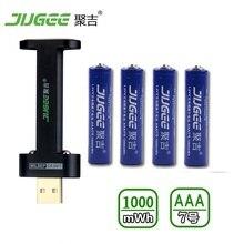 4 PCS 1.5 v AAA lifepo4 Li-ion Li-polymère au lithium Jouets batteries 1000mWh AAA batterie rechargeable batterie + 1 PCS chargeur