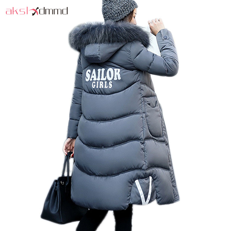 AKSLXDMMD Plus Size Padded Coat Female 2017 New Winter Women Jacket Print Letters Fur Collar Hooded Long Thick Coat Parka LH1009 akslxdmmd fashion casual winter thick hooded jacket 2017 new parka women parttern letters mid long coat female overcoat lh1227