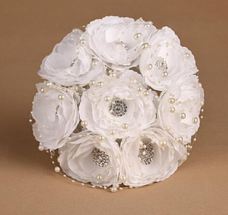 27*18cm Faux Flowers Crystal Beads Chain Bridal Hand Holding Flowers Bouquet Wedding Favors wfd003