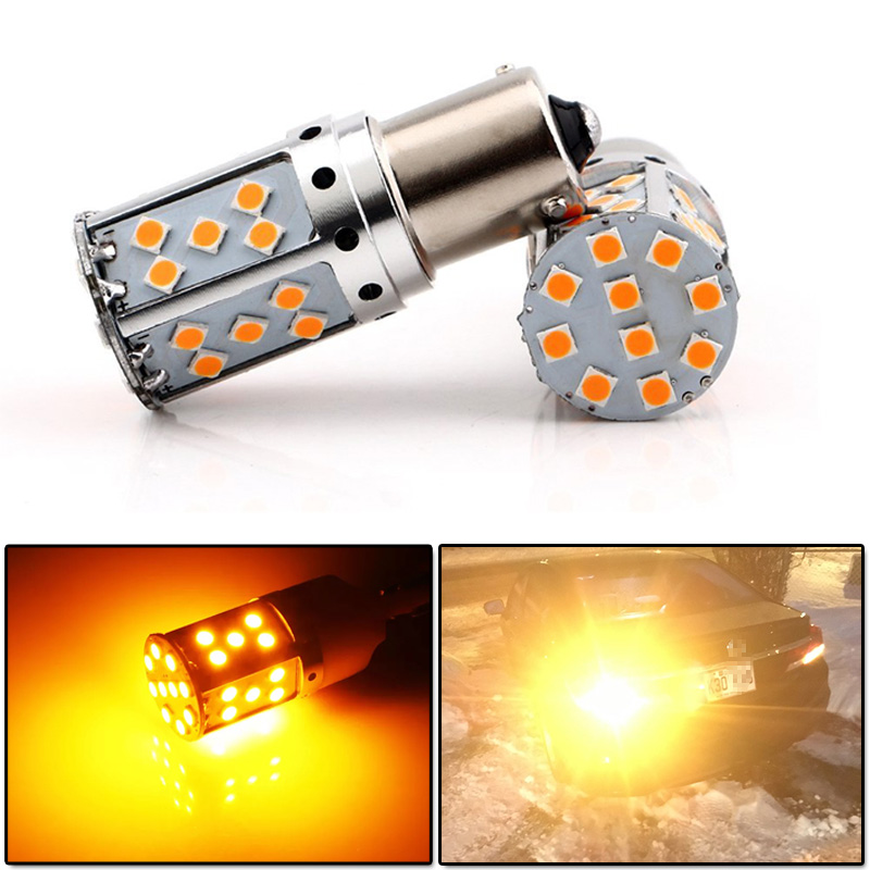 Modify.Era 2pcs Car P21W LED No Hyper Flash Amber Yellow 35-SMD 3030 LED 1156 BA15s 7506 LED Bulbs For Turn Signal Lights,Canbus