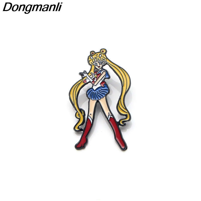 P3224 Wholesale 20pcs lot Sailor Moon Metal Enamel Pins and Brooches for Women Men Lapel Pin