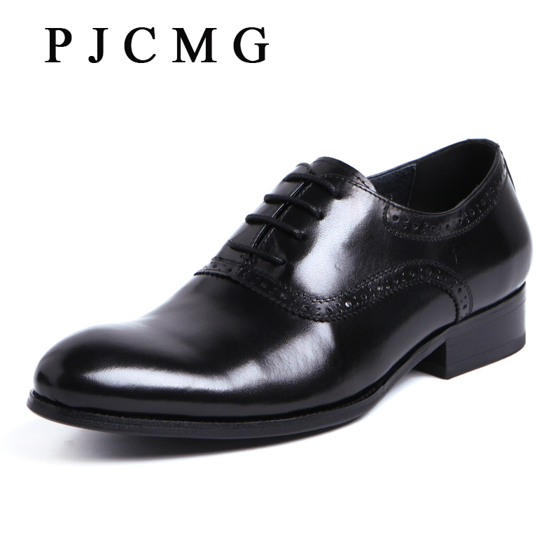 PJCMG Fashion High Quality Comfortable Spring/Autumn Lace-up Pointed Toe Flats Genuine Leather Oxfords Men Dress Shoes new spring autumn women shoes pointed toe high quality brand fashion ol dress womens flats ladies shoes black blue pink gray