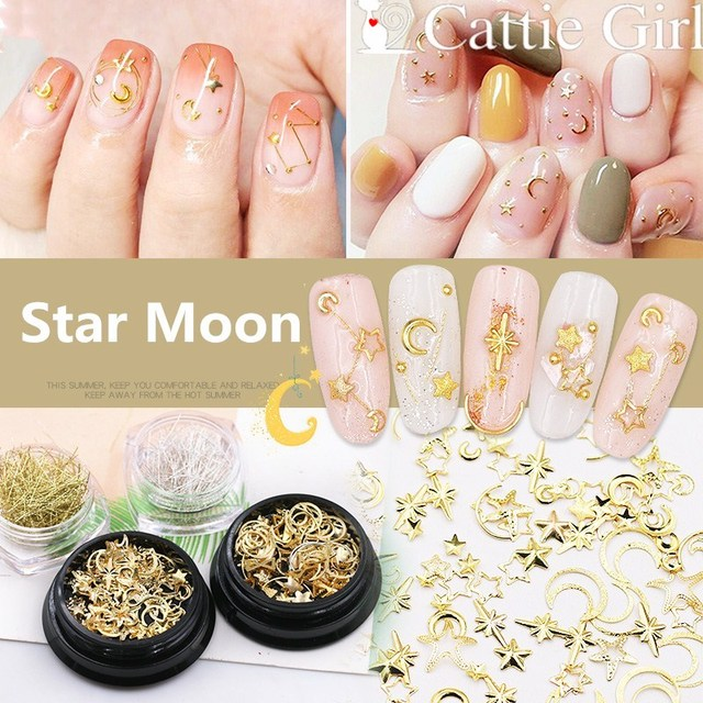 9e629f20dae US $1.7 14% OFF 1boxes Star MoonNail Rhinestones Mixed Metal Rivet  Decorations Nail Crystal Holographic AB Accessoires Nail Art Set-in  Rhinestones & ...
